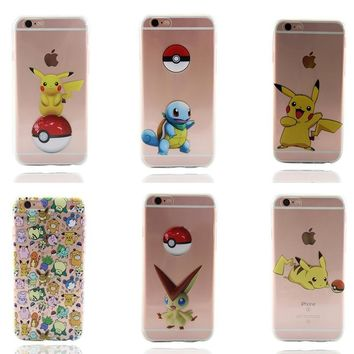 Fashion New Soft TPU Silicone Covers for fundas iphone 7 7plus 6 6S 5 5SE 8 Plus Cartoon Animals Phone Cases s MermaidKawaii Pokemon go  AT_89_9