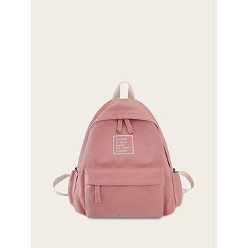 Slogan Embroidered Canvas Backpack