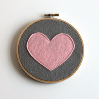 pink heart embroidery hoop art, grey flannel fabric with pink felt