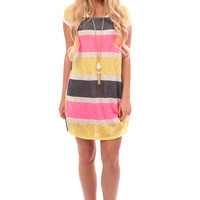 Neon Pink Stripe Loose Knit Tunic