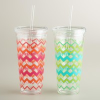 Chevron Double Wall Tumblers,  Set of 2 - World Market