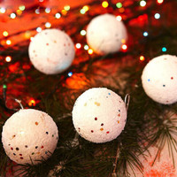 12PCS Diameter 4CM Christmas Snowball Balls Party Ornaments Christmas Tree Hanging Christmas Decorations for Home GM367