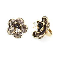 Antique Gold Beaded Flower Adjustable Ring