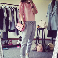 Bat sleeve loose T-shirt casual harem pants suit