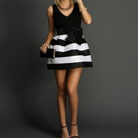 Black Perfectly Striped Party Dress