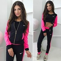 Nike Popular Women Casual Long Sleeve Splicing Show Thin Sports Running Hooded Three Piece Suit Rose Red I13146-1