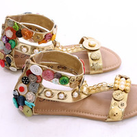 Custom Decorated Button with Zipper up back Sandals Size 7.5