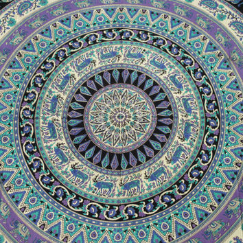Hippie Dorm Room Mandala Cotton Tapestry Handmade Queen 240 x 210 Wall Hanging Bed Sheet Boho Sofa Throw UK