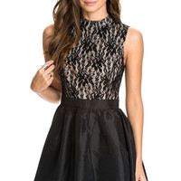 Sleeveless Lace Mini Skater Dress