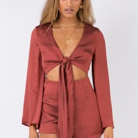 Stay Tonight Tie Front Playsuit | Princess Polly