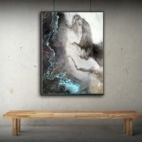 WANGART Abstract Oil Painting Art Decor Canvas Print Black White Posters Wall Pictures for Living Room Bedroom Wall Art Nordic