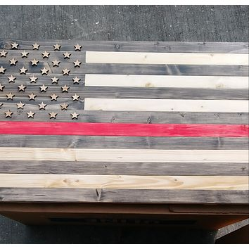 Firefighter Thin Red Line Engraved Wood Rustic Style Flag