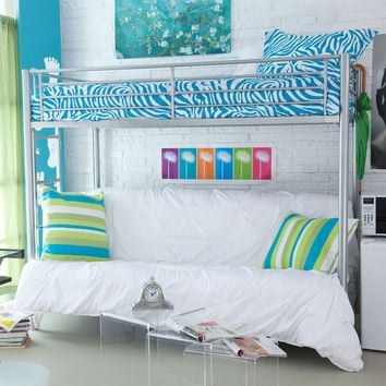 Twin over Full Size Futon Bunk Bed in Modern Silver Metal Finish