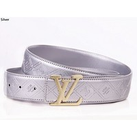 LV tide brand retro classic letter buckle men and women wild belt silver