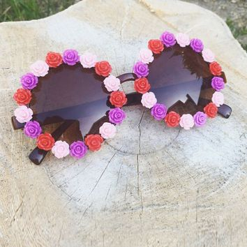 Sunglasses - Flower Goddess Rose Rim Sunglasses