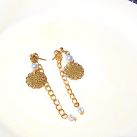 Front and Back Earrings, Gold Filigree, Swarovski Crystal and Glass Pearls with Gold Plated Chain,Edgysheeq Simple Earrings for Everyday