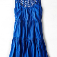 AEO Women's Lace Back Babydoll Dress (Blue)