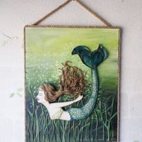 Mermaid Decor Green Diving Original Beach Wall Art. Brown Hair Mixed Media on Canvas.16X20 inches.