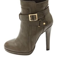 Belted High Heel Ankle Booties by Charlotte Russe - Gray