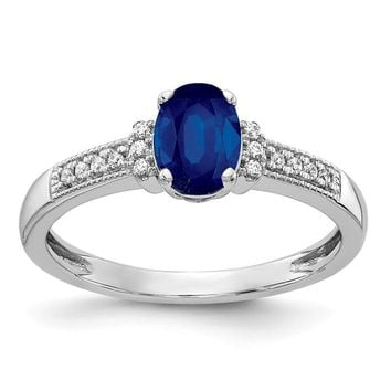 14k White Gold Diamond And Oval Blue Sapphire Ring