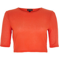 River Island Womens Red sheer ribbed crop top