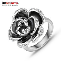 Black Rose Wedding Rings Silver Plated Ring Jewelry Nickel Austrian Crystal SWA Element Ring