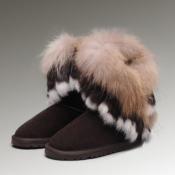 UGG Fox Fur Short Boots 8288 Chocolate Discount