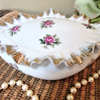Porcelain  Jewelry Trinket Box Ceramic with  Pink Roses Ruffled Lid with 22Kt Gold blm