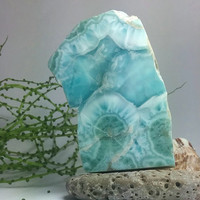 Polished Larimar 57g 285ct Slab Foamy Waves Lapidary Cabbing Display Showcase Caribbean Marbled Sky Blue Pectolite Rough Raw Stone OOAK