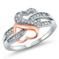 .925 Sterling Silver Rose Gold Double Heart Infinity Ladies Ring size 4-12