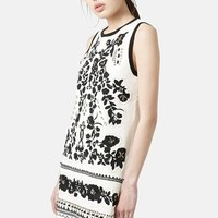 Women's Topshop Embroidered Shift Dress,