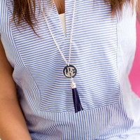 Silver Black Tassel Necklace