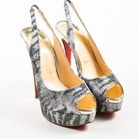 DCCK Silver and Green Glitter Christian Louboutin   Lady Peep   Sling Pumps