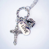 Vintage Celtic Cross, crown, addiction recovery, John 3:16, Christian jewelry Christian necklace vintage inspired christain necklace suicide