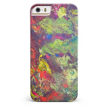 Green and Red Wet Oil Paint Canvas iPhone 5/5s or SE INK-Fuzed Case