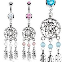 Stainless Steel Dream Catcher Net with Bead Based Feathers Fancy Navel Ring; Comes With Free Gift Box (Clear)