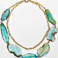 Statement Necklace Cracked Chunky Turquoise Blue Dragon Veins Agate Stone Beads - by Simona Mar / Faceted freeform slabs - raw brass chain
