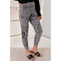Never A Dull Moment Skull Knitted Joggers (Grey/Charcoal)