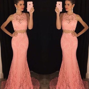 Mermaid Lace Prom Dress,Pink Two Piece Prom Dresses,Evening Dresses