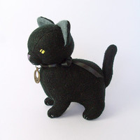 Halloween Special Item, Black Collectible Cat Felt Doll, Gothic Kitty Soft Sculpture, Salem Witch Cat Plush