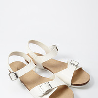 Buckled Faux Leather Sandal