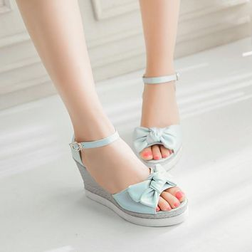 Bowtie Wedges Sandals Women Platform Shoes Woman