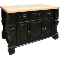 Jeffrey Alexander ISL01-DBK Kitchen Island, Distressed Black