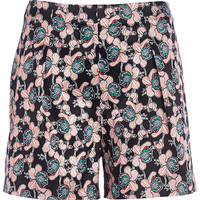River Island Womens Red high waisted floral print shorts