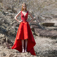 High Low Prom Dresses 2016 Red Sexy Deep V Neck Lace Bead Satin Gown Sleeveless Cheap Special Occasion Dresses Prom Party Gowns