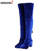 Square High Heels Slim Boots Female Over The Knee Boots Women Motorcycle Boot Plus Size Women's Thigh High Boots Shoes Woman
