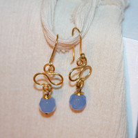 Pale Blue Dangle Earrings, Blue Drop Earrings, Gold Earrings, Gold Dangle Earrings, Gifts for Her, Girlfriend Gift Ideas