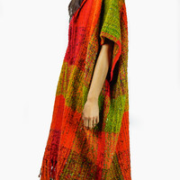 Vintage Handwoven Poncho Shawl with Hood