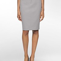 grey luxe belted straight pencil suit skirt | Calvin Klein