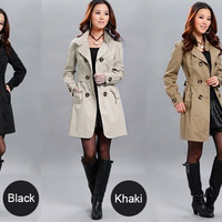 Fashion Women Slim Fit Trench Double-breasted Coat Jacket Outwear